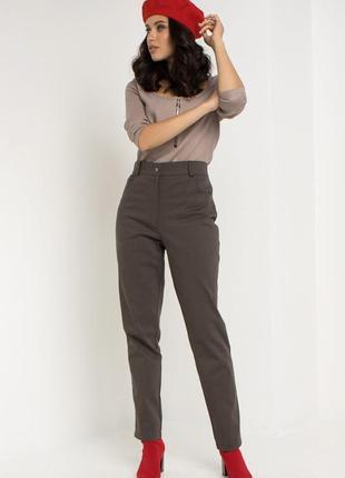 Джинсовые брюки с высокой посадкой хаки1 фото