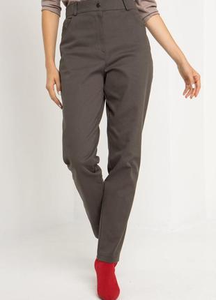 Джинсовые брюки с высокой посадкой хаки8 фото