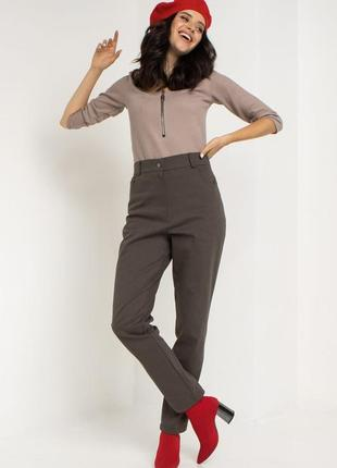 Джинсовые брюки с высокой посадкой хаки5 фото
