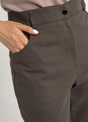 Джинсовые брюки с высокой посадкой хаки7 фото