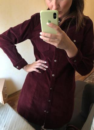 Плотная рубашка платье вельветовая на кнопках тёплая asos zara mango h&m