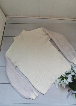 Модный свитер под горло свободный фасон пушистые рукава размер хс-с1 фото