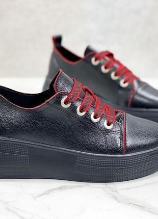 Кроссовки 👟 женские чёрные натуральная кожа красные шнурки1 фото