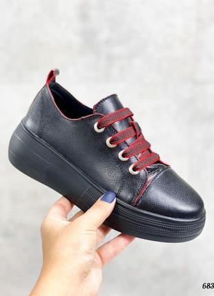Кроссовки 👟 женские чёрные натуральная кожа красные шнурки3 фото