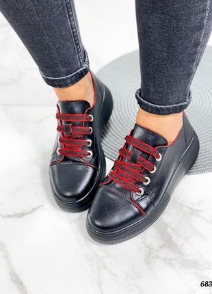 Кроссовки 👟 женские чёрные натуральная кожа красные шнурки6 фото