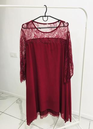 Стильное платье с кружевом большого размера1 фото
