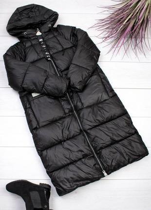 Женская чёрная длинная куртка3 фото