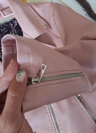 Крутая косуха розовая кожанка пудра куртка экокожа2 фото