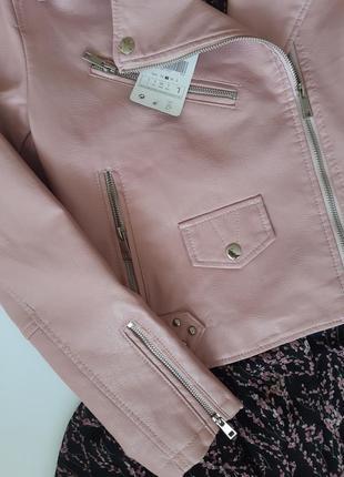 Крутая косуха розовая кожанка пудра куртка экокожа3 фото