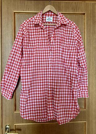 Рубашка в клетку, яркая красная рубашка,