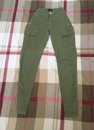 Джоггеры брюки карго цвета хаки средней посадки😍