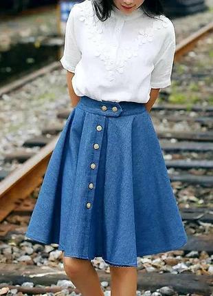 Турция джинсовая юбка (солнце) на пуговицах