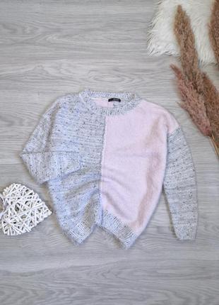 Крутой мягенький свитер травка меланжевый серый и нежный розовый