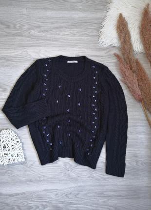 Синий свитер в косы с камушками стразами