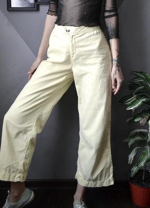 Лимонные жёлтые актуальные широкие джинсы кюлоты