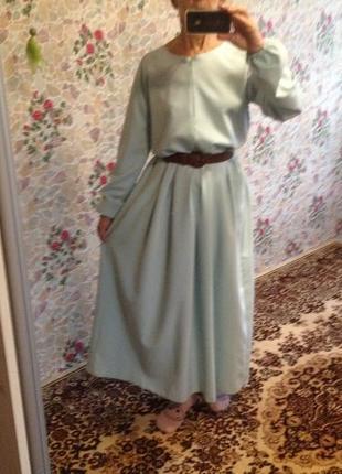 Платье макси шелковое плотное непрозрачное