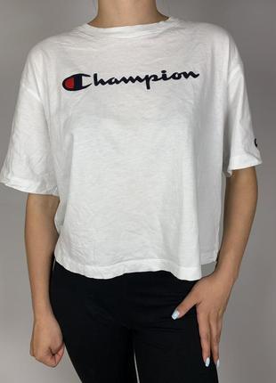 Белая футболка кроп топ champion original