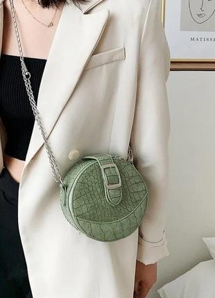 Женская круглая маленькая сумка/мини сумка через плечо/круглая сумка кросс боди.