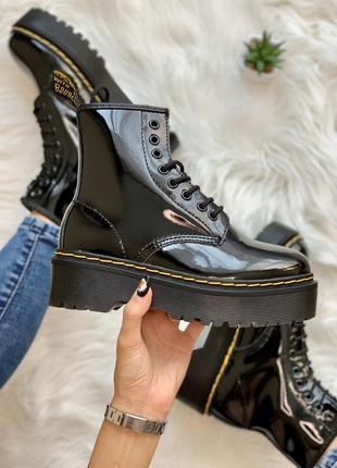 Dr. martens jadon lacquer шикарные осенние чёрные кожаные ботинки 😍