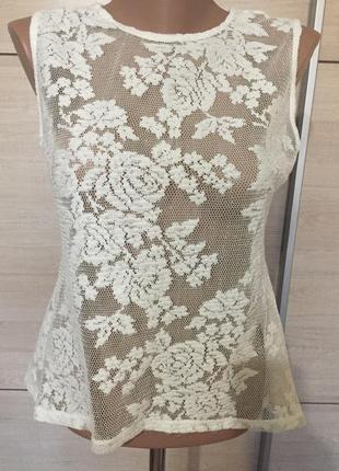 Кружевная кофточка блуза с баской