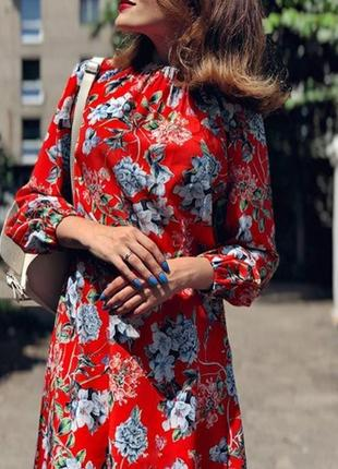 Очень красивое платье миди алого цвета от h&m