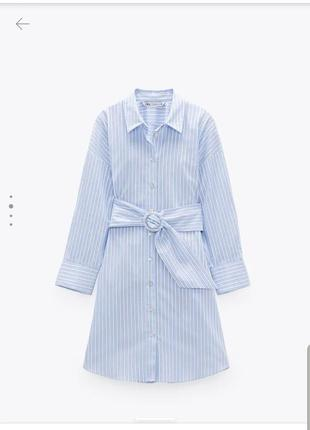 Очень класное платье рубашка в полоску zara коллекция 2020 года