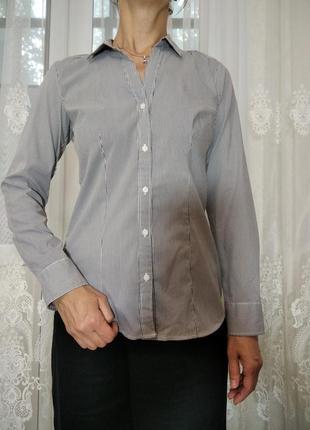 Классическая рубашка, приталенная базовая женская рубашка h&m в серую полоску, р.s-m