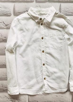 H&m стильная льняная рубашка на мальчика 7-8 лет