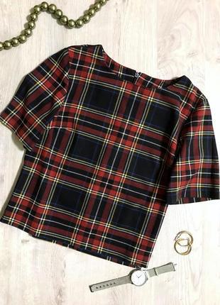 Блуза/футболка/кофточка/ блуза на короткий рукав/ блуза в клітинку/ акція.