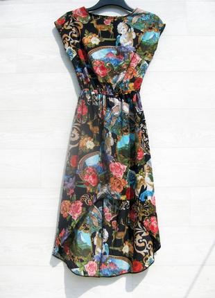 Платье river island египет в стиле dolce gabbana миди разноцветное с ангелочками