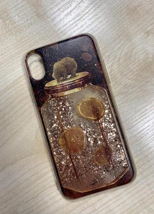Силиконовый чехол для iphone  xr с блестками