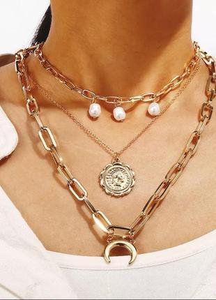 Ожерелье колье чокер многослойная цепочка золотистая с подвеской месяц монета жемчуг