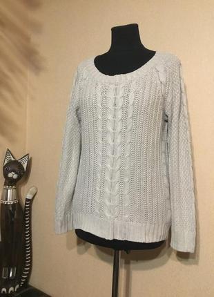 Фирменный вязаный свитер с косами