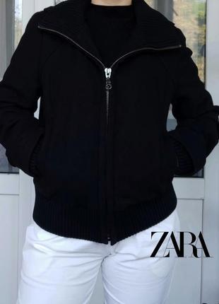Zara полушерстяная куртка на молнии