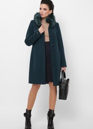 Стильное классическое зимнее пальто шерсть натуральный мех