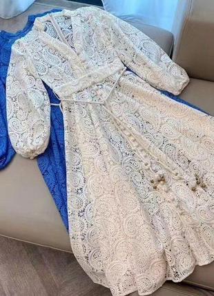 Платье zimmermann кружевное бежевый5 фото