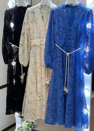 Платье zimmermann кружевное бежевый7 фото