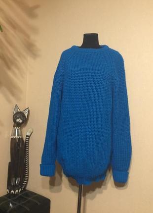 🔥скидка🔥стильный вязаный большой длинный свитер оверсайз