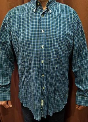 Рубашка мужская 56-58 синяя в мелкую клетку