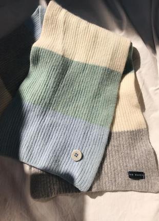 Качественный шарф дорогого бренда шерсть вязанный ted baker