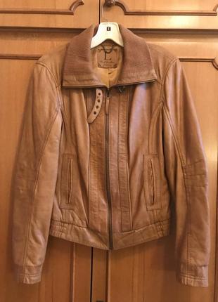 Крутая стильная куртка, косуха рыжая из натуральной кожи stradivarius кожанка, бомбер