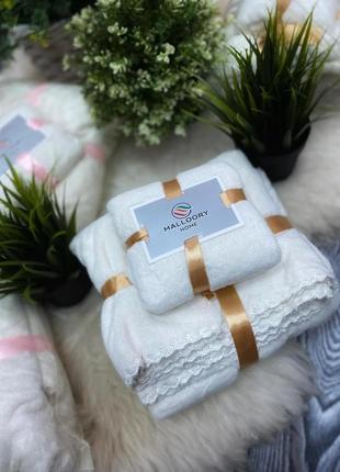 Подарочный набор супер мягких полотенец баня+лицо