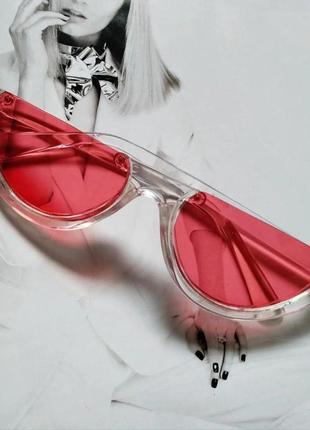 Стильные солнцезащитные очки с обрезанной оправой красный