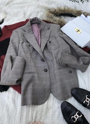 Актуальний пиджак в клетку жакет в клетку піджак жикет базовий