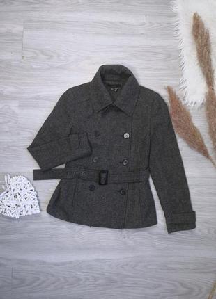 Шикарное тёплое серое шерстяное пальто полупальто тренч под пояс от zara