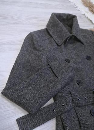 Шикарное тёплое серое шерстяное пальто полупальто тренч под пояс от zara4 фото