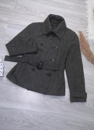 Шикарное тёплое серое шерстяное пальто полупальто тренч под пояс от zara8 фото