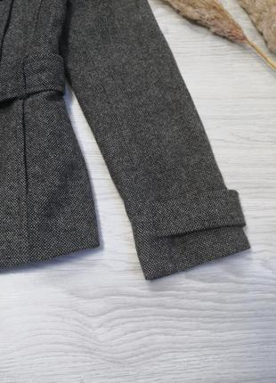 Шикарное тёплое серое шерстяное пальто полупальто тренч под пояс от zara5 фото