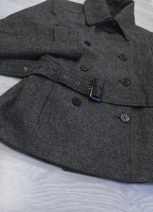 Шикарное тёплое серое шерстяное пальто полупальто тренч под пояс от zara6 фото
