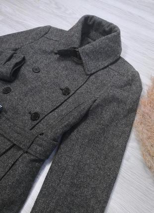 Шикарное тёплое серое шерстяное пальто полупальто тренч под пояс от zara7 фото